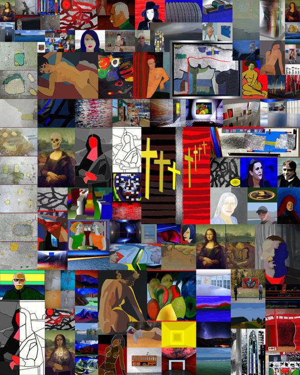 Collage mit über 100 Bildern, die ich in 2020 am PC erschaffen habe