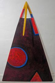 Tafelbild mit integriertem Dreizack aus Holz.