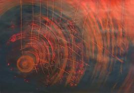 Schwarz-rote Kreise von senkrechten roten Linien durchzogen.
