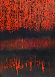 Farbvorhang aus schwarzen und roten Kugeln