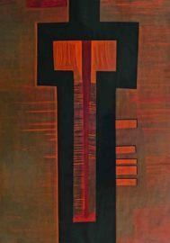 Kreuz, schwarz umrandet mit roten Linien.